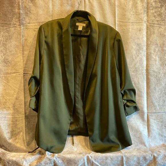 Silky army green H&M women's blazer
